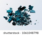 black triangle with debris on... | Shutterstock .eps vector #1061048798