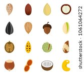 nuts icons set. flat... | Shutterstock .eps vector #1061064272
