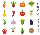 smiling vegetables icons set.... | Shutterstock .eps vector #1061064728
