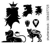 lion set heraldry | Shutterstock .eps vector #106107725