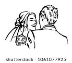 bride and groom. joyful wedding ... | Shutterstock .eps vector #1061077925