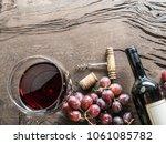 wine glass  wine bottle and...   Shutterstock . vector #1061085782