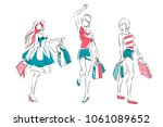 outline of young girls in full... | Shutterstock .eps vector #1061089652