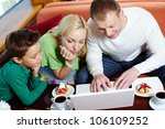 happy modern family surfing the ... | Shutterstock . vector #106109252