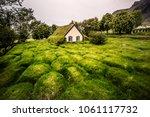 amazing view of turf church... | Shutterstock . vector #1061117732