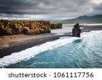 view on kirkjufjara beach and... | Shutterstock . vector #1061117756