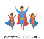 family  dad and kids  cute boy... | Shutterstock .eps vector #1061121812