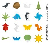 origami icons set. flat... | Shutterstock .eps vector #1061124848