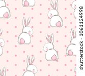 hand drawn cute bunny pattern ... | Shutterstock .eps vector #1061124998