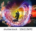 backdrop of girl silhouette ... | Shutterstock . vector #106113692