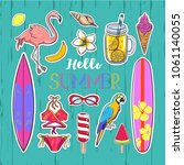 set of fashion summer stickers... | Shutterstock .eps vector #1061140055