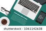 top view flat design creative... | Shutterstock .eps vector #1061142638