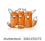 cute foxes  sketch for your... | Shutterstock .eps vector #1061152172