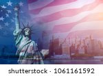 double exposure with the... | Shutterstock . vector #1061161592