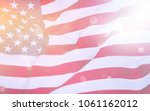 usa flag blown by the wind. | Shutterstock . vector #1061162012
