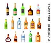 set empty glass bottle alcohol... | Shutterstock .eps vector #1061166986