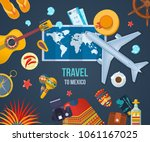 summer travel to mexico. air... | Shutterstock .eps vector #1061167025