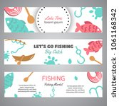 fishing banner. lake time text. ... | Shutterstock .eps vector #1061168342