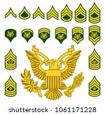 set of army military american... | Shutterstock .eps vector #1061171228