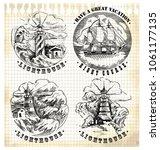 sea illustration retro style.... | Shutterstock .eps vector #1061177135