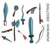 hand drawn hatching weapon set. ... | Shutterstock .eps vector #1061177642