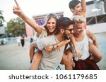 group of friends having fun... | Shutterstock . vector #1061179685