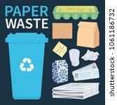 bin for paper and cardboard...   Shutterstock .eps vector #1061186732