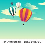 four hot air balloon flying in...   Shutterstock .eps vector #1061198792