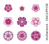 pink stylized flower logo.... | Shutterstock .eps vector #1061199158