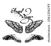 angel wings vector  lettering ... | Shutterstock .eps vector #1061206295
