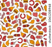 seamless pattern with meat... | Shutterstock .eps vector #1061208968