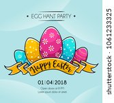 happy easter banner with... | Shutterstock .eps vector #1061233325