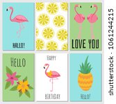 summer kids cards with tropical ... | Shutterstock .eps vector #1061244215