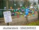 Aldermaston, United Kingdom, 1st April 2018:- Peace messages near the main gate to the AWE where Britains atomic wareheads are made, on the 60th anniversary of the first CND march in 1958 - stock photo