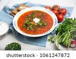 traditional soup borsh on... | Shutterstock . vector #1061247872