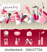 glamorous make up border with 7 ... | Shutterstock .eps vector #106127726
