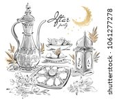 ramadan eid iftar party food... | Shutterstock .eps vector #1061277278