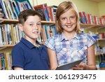 portrait of pupils using... | Shutterstock . vector #1061293475