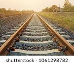 railway trane on sunset | Shutterstock . vector #1061298782