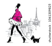 fashion girl in sketch style.... | Shutterstock .eps vector #1061309825