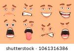 men cute mouth eyes facial... | Shutterstock .eps vector #1061316386