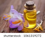yellow crocus or saffron with... | Shutterstock . vector #1061319272