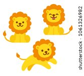 cute cartoon lion illustration... | Shutterstock .eps vector #1061326982