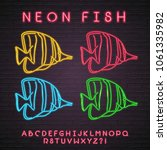 fish illustration neon light... | Shutterstock .eps vector #1061335982