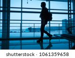 silhouette of young girl... | Shutterstock . vector #1061359658