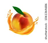 realistic peach with juice... | Shutterstock .eps vector #1061364686