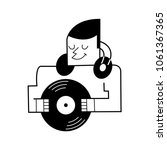 dj with vinyl record.  cartoon... | Shutterstock . vector #1061367365
