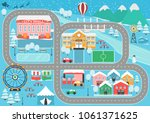 lovely snowy city landscape car ... | Shutterstock . vector #1061371625
