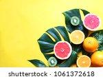 assortment tropical fruits and... | Shutterstock . vector #1061372618