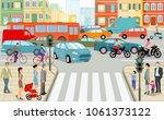 road traffic in the city ... | Shutterstock . vector #1061373122
